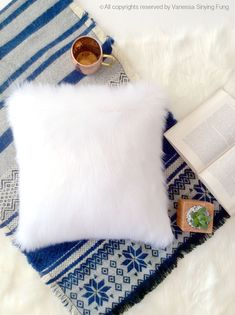 White fur pillow throw suede cover12 X 12 fluffy white fur white suede pillow cover decorative ONE