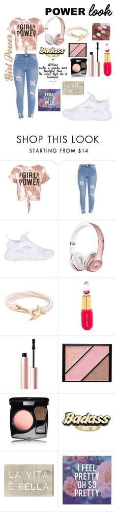 """Girl Power"" by rosella-m ❤ liked on Polyvore featuring Sans Souci, NIKE, MIANSAI, Winky Lux, Too Faced Cosmetics, Elizabeth Arden, Chanel, Steve Madden, Oliver Gal Artist Co. and Trademark Fine Art"