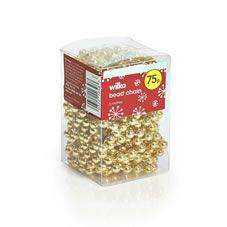 Wilko Wild Wood Bead Garland Christmas Tree Decoration Gold Effect 5m