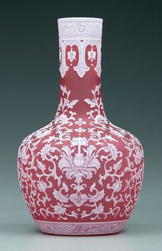 """Webb Cameo Glass Vase, Red Glass With Elaborate Arabesque Style Decoration, Unsigned, Marked On Base """"957"""""""