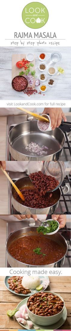 Rajma Masala (LC - A popular North Indian dish, is also Vegan and Vegetarian. Veg Recipes, Curry Recipes, Indian Food Recipes, Asian Recipes, Vegetarian Recipes, Cooking Recipes, Healthy Recipes, Recipies, Rajma Masala Recipe