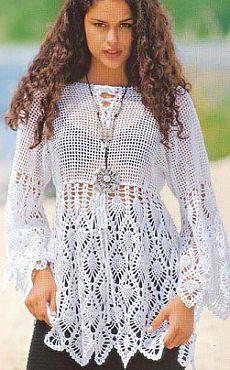Fabulous Crochet a Little Black Crochet Dress Ideas. Georgeous Crochet a Little Black Crochet Dress Ideas. Crochet Tunic, Crochet Clothes, Crochet Lace, Russian Crochet, Crochet Tops, Crochet Cover Up, Pineapple Crochet, Pineapple Top, Summer Tunics