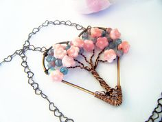 Spring Bouquet Tree of Life Heart Necklace by CandiSuesCreations, $45.00