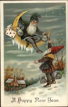 New Year Fantasy - Gnomes Elves Bags of Money & Moon c1910 Postcard