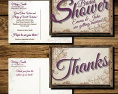 Rustic Shower Invite and Thank You card printable postcards - Edit Listing - Etsy