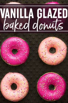 Vanilla Glazed Baked Donuts: soft and delicious baked donuts, dipped in a thick vanilla glaze and topped with sprinkles. Only 189 calories per donut! Donut Glaze Recipes, Party Desserts, Dessert Recipes, Dessert Blog, Brunch Recipes, Cake Recipes, Donut Icing, Icing For Donuts Recipe, Cake Donut Recipe Baked