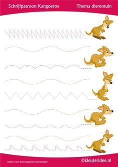 Schrijfpatroon kangoeroe, thema dierentuin, juf Petra van Kleuteridee, preschool…