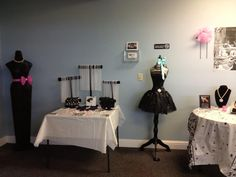 Breakfast at Tiffany Baby Shower and table/dress forms with items for photos