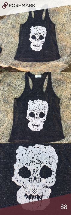 Razorback Charco grey crochet skull Charcoal gray / with cream colored crochet knit skull / razorback tank /  by: RENNES / cond: new / no size, with 3 woman in this household from size small to large, it fits all 3 of us. Depending on the look ur going for loose fitting wear it with a bandeau, layer look or fitted look. I'd say it's one size fits most. Please feel free to ask questions it ur not sure before buying. Thank you for stopping by & sharing Rennes Tops Tank Tops