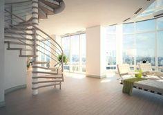Escalier intérieur hélicoïdal en bois très design pour un esprit loft ! L'escalier SAXE de chez OéBa est un escalier en colimaçon moderne et original ! L'escalier hélicoïdal est un escalier rond tournant autour d'un axe appelé fût central. Garde-corps : lisses en inox débillardées et rampe en bois débillardée. #staircase #stairway #stairs #escalier #interiordesign #design #architecture #madeinfrance