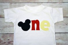 "Mickey Mouse Inspired ""One"" Shirt for 1st Birthdays - Boy Birthday Outfit - Classic Mickey - Red, Black and Yellow on Etsy, $24.99"