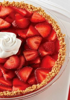 Strawberry Fruited Pie — Use a batch of fresh strawberries in a luscious, low-fat way. Topped with a cool dollop, one sweet bite makes chilly weather a mere memory. Kraft Recipes, Pie Recipes, Dessert Recipes, Easy Recipes, Recipies, Just Desserts, Delicious Desserts, Yummy Food, Strawberry Desserts