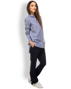 Amorph BOYFRIEND Bluse Blau-Weiß Gestreift  - schicke Hemdbluse für Damen von Amorph aus Baumwolle in Blau-Weiß gestreift - verdeckte, durchgehende Knopfleiste - Umlegekragen - langer, gerader Schnitt - seitlich geschlitzt - hinten länger