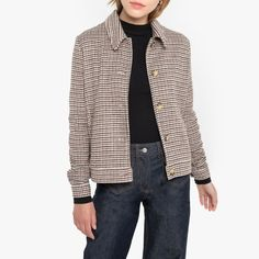 Houndstooth Check Buttoned Jacket with Faux Tortoiseshell Buttons and Pockets Blazers, Check Printing, Pret A Porter Feminin, Jacket Buttons, Big & Tall, Straight Cut, Fall Wardrobe, Mannequins, Houndstooth