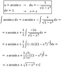 solving the integral of arcsin(x)  by parts