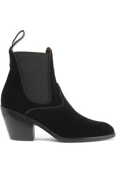 EXCLUSIVE AT NET-A-PORTER.COM. Chloé's ankle boots are crafted from rich leather-backed velvet in a classic Western-inspired shape. Set on a supportive wooden heel, this versatile pair has elasticated side panels and a back tab to ensure they slip on and off with ease. Wear yours with cropped denim.
