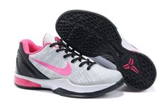 Nike Zoom Kobe VI Womens Basketball Shoes - Grey/Black/Pink For $68.90 Go To:  http://www.cheapkobeshoesmall.com