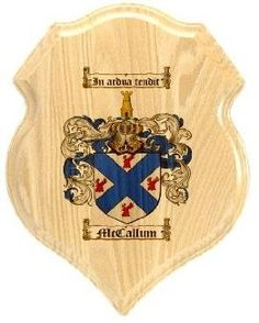 $34.99 Mccallum Family Crest Plaque / Coat of Arms Plaque.  at www.4crests.com - Your family coat of arms on a thick, beveled edge 12 inch oak plaque.  Manufactured by: Family Crests Store Merchant SKU: mccallum:plaque Thick Oak Family Crest Wall Plaque Great gift for anyone Family coat of arms / family crest printed in full color A great item for genealogy enthusiasts Hang on your home or office wall