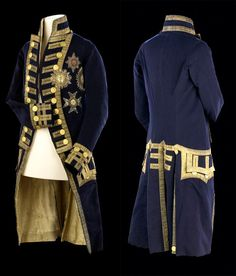 Vice Admiral's Full Dress Coat (Pattern Lord Nelson's full dress coat of blue wool lined with white silk twill. 18th Century Clothing, 18th Century Fashion, Historical Costume, Historical Clothing, Cosplay, Royal Navy Uniform, Navy Uniforms, Military Uniforms, Moda Masculina