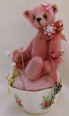 Teddy bear and cup pincushion