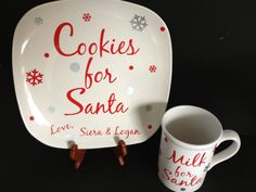 Cookies for Santa Plate & Milk for Santa Set. Choose your words and colors - add names - Christmas plate platter.. $20.00, via Etsy.