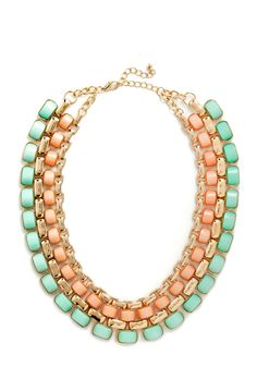 Peach, Mint and Gold.