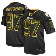 Cameron Heyward Men s Elite Black Jersey  Nike NFL Pittsburgh Steelers Camo  Fashion  97 Cameron 5e83fe572