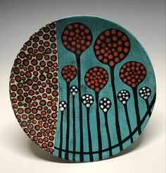 "11"" diameter, handpainted underglazes, cone 5-1/2. Ceramic Art, Decorative Plates, Hand Painted, Ceramics, Tableware, Home Decor, Hall Pottery, Pottery, Dinnerware"
