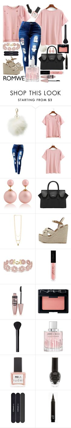 """""""❇"""" by chanellreignss ❤ liked on Polyvore featuring Charlotte Russe, BaubleBar, Maybelline, NARS Cosmetics, Jimmy Choo, ncLA and MAC Cosmetics"""