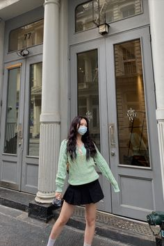 @kryxsoo wearing Preppy Skirt (Black) #newyork #ootd #outfits #shirts #skirts #tennisskirt #preppyskirt #miniskirt #schoolskirt #schoolgirl #nyc Indie Outfits, Cute Casual Outfits, Nancy Drew Costume, Preppy Skirt, Preppy Style, Aesthetic Clothes, Pleated Skirt, Ulzzang, Outfit Ideas