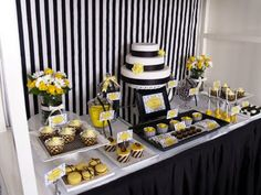 Black and White Damask with a splash of yellow