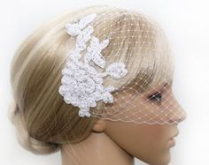 Birdcage Veil And Flower Hair Clip Set Bridal Hair by JerseyBride