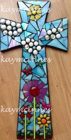 Tall mosaic cross done by artist Kay McInnes www.facebook.com/tinypiecesmakeart.com