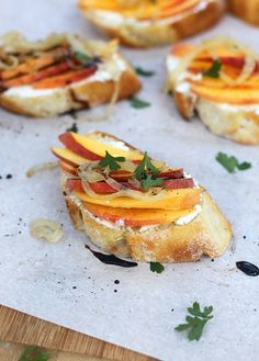 Goat Cheese Crostini with Peaches, Brown Butter Onions and Balsamic Drizzle