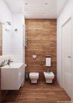 20 banheiros decorados com porcelanato que imita madeira