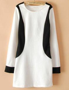 Robe droite et à manches longues -Blanc noir  pictures