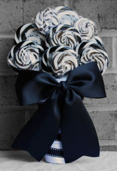 Lollipop Wedding Bouquet Black/White by EdibleWeddings on Etsy, $69.99