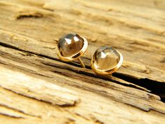 Smoky quartz gem stone stud gold plated earrings by sherijewelry, $19.00
