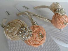 Salmon & Ivory Bridal Flip Flops / Bridal Color Flip flops / Bridal Sandals…