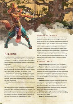 DnD Homebrew — Kitsune Race by HomicidalHotdog Dungeons And Dragons Races, Dungeons And Dragons Classes, Dungeons And Dragons Characters, Dungeons And Dragons Homebrew, Dnd Characters, Dnd Dragons, Dnd 5e Races, D D Races, Fantasy Races
