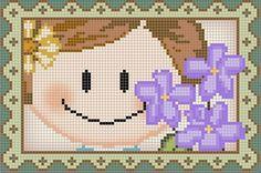 Cross Stitch Cards, Cross Stitch Baby, Cross Stitching, Cross Stitch Patterns, Stitch Doll, African Flowers, Filet Crochet, Pixel Art, Hello Kitty