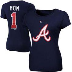 Atlanta Braves Ladies #1 Mom Logo T-Shirt - Navy Blue