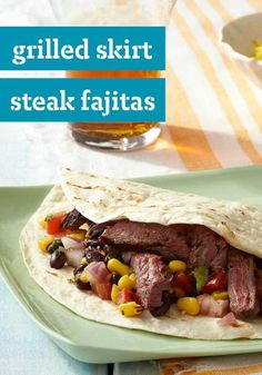 Grilled Skirt Steak Fajitas -- Spice up tonight with these Grilled Skirt Steak Fajitas--ready for the dinner table in just 30 minutes time!