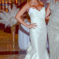"""Gorgeous ivory mermaid gown! Gorgeous mermaid (corset) gown made of dupioni silk & delicate lace. Includes cups & boning for ultimate lift & support. Couture dress purchased from boutique in NY called """"ivory & co."""" Can be worn for prom, black tie gala, or bridal. Worn once to my engagement party & has since been cleaned & preserved by a dry cleaner company. Originally $1,300 + $250 in custom alterations. I am 5'1 & size 2 & it touches the floor with a train & custom detachable bow. Pics…"""