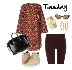 """""""Tuesday"""" by danieluska ❤ liked on Polyvore featuring Pierre Balmain, Signature Gold, MICHAEL Michael Kors, Kenneth Jay Lane, Oui, Opaline and Givenchy"""
