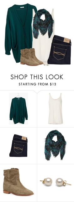 """Teal green cardigan, frayed plaid scarf & suede boots"" by steffiestaffie ❤ liked on Polyvore featuring Madewell, sass & bide, Abercrombie & Fitch, Forever 21 and Isabel Marant"