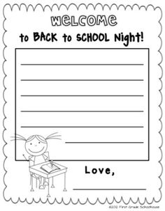 Our Back to School Night is this coming week. Most of the evening will be spent with me talking about first grade curriculum and activiti. Back To School Night, 1st Day Of School, Beginning Of The School Year, School Fun, School Ideas, First Grade Curriculum, Curriculum Night, First Grade Classroom, Future Classroom