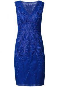 Blue Sleeveless V Neck Floral Embroidered Dress