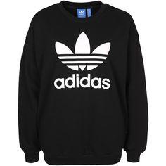 Adidas Originals Trefoil Sweat (235 BRL) ❤ liked on Polyvore featuring tops, hoodies, sweatshirts, adidas originals sweatshirt, tall tops, tall sweatshirts, adidas originals and trefoil sweatshirt