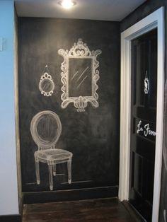 Chalk wall ideas chalk paint wall chalkboard paint in the entryway chalk paint wall ideas chalk . Chalkboard Wall Bedroom, Blackboard Paint, Chalk Wall, Chalkboard Drawings, Black Chalkboard, Chalk Paint, Chalkboard Lettering, Chalkboard Ideas, Chalk Board